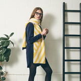 Stripe Scarf - Knitted Scarf with Yellow and White Diagonal Stripes - Worn by Model