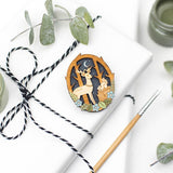 Lifestyle Image of Moonlit Forest Brooch with Deer and Squirrel