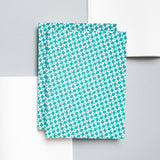 A5 notebook with turquoise geometric pattern on cover
