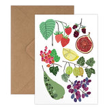 Fruit Field Greeting Card - Strawberries, Pear, Fig And Berry Illustration