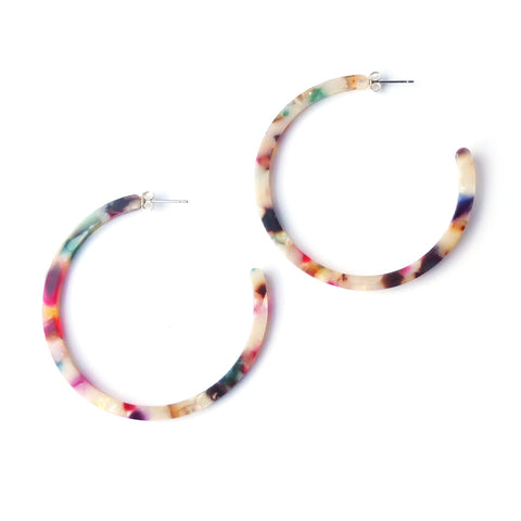 Circe Hoop Earrings in a Bright Tortoiseshell style acetate