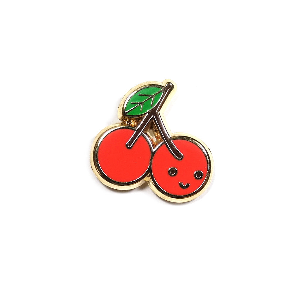 cute miniature enamel red cherry pin with smiley face
