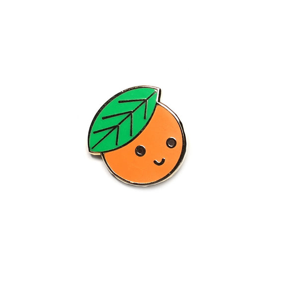 cute happy enamel clementine orange enamel metal pin brooch