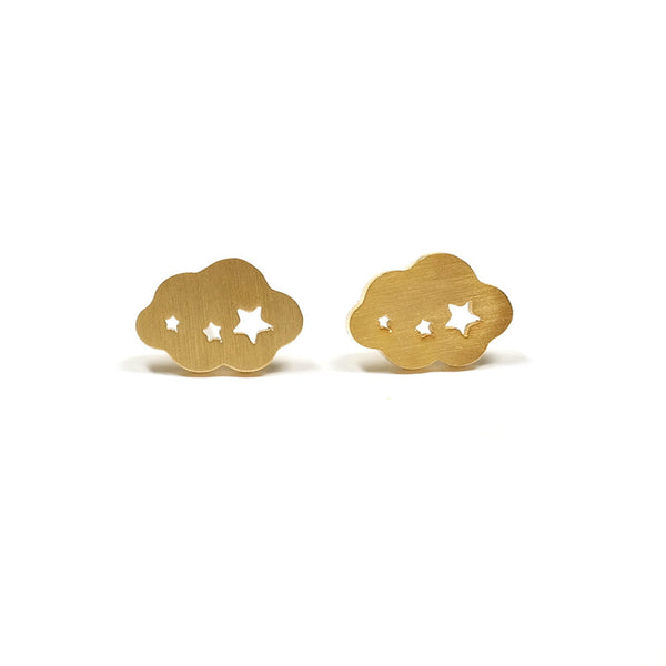 Little Cloud Stud Earrings Golden Eclectic Eccentricity
