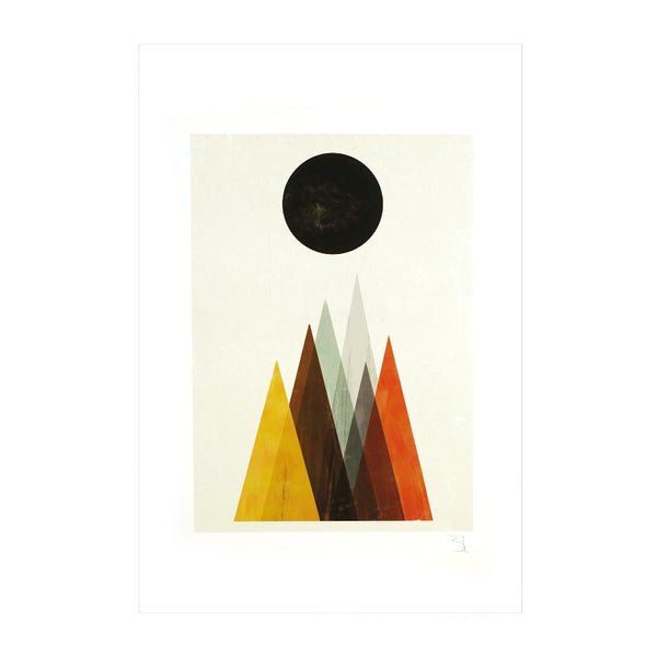 Eclipse Black Moon Abstract Mountain Affordable Art Print