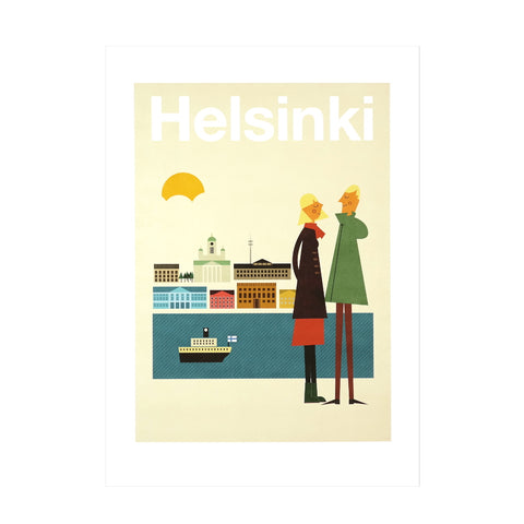 Helsinki Skyline Couple A4 Affordable Art Print