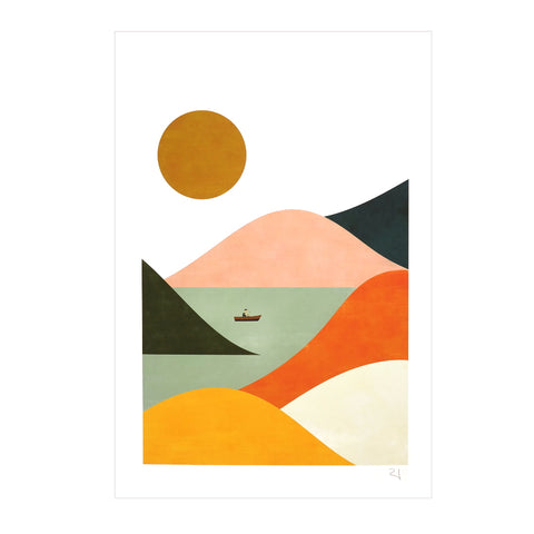 Mountain Sea Sun Colourful Abstract Affordable Art Print