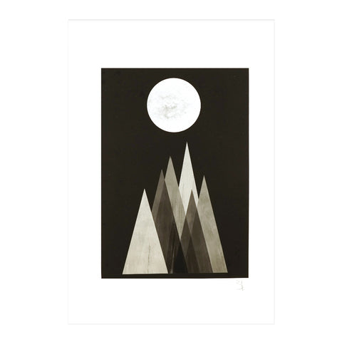 moon mountain lunar eclipse abstract affordable art print