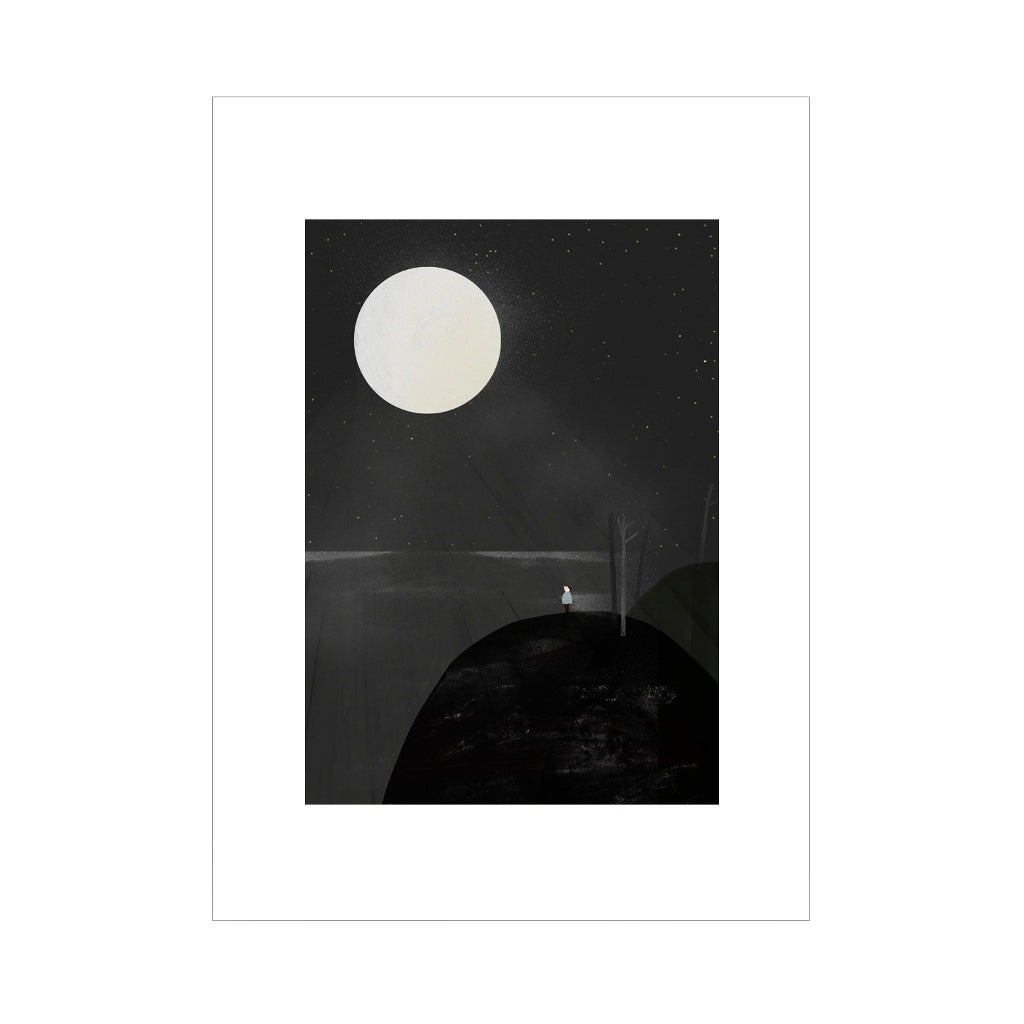 Black and White Moonlight Affordable Abstract Art Print