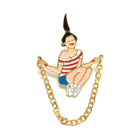 Coucou Suzette Girl Jumping Rope Enamel Pin Brooch