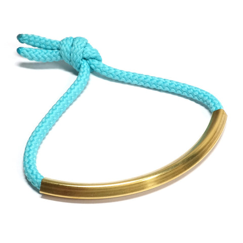 Aqua Cord and Brass Cupola Bracelet