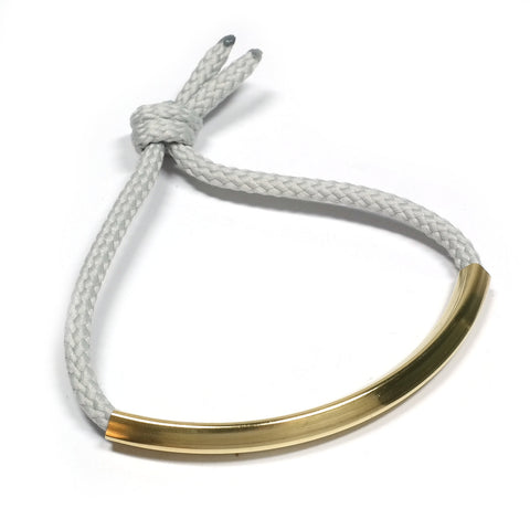 Grey Cord and Brass Cupola Bracelet in Grey