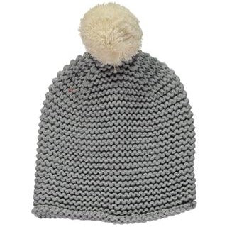 Grey Pom Beanie - Knitted Bobble Hat with Cream Pom Pom