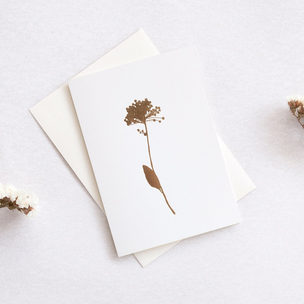 Delicate greeting card with a brass foil illustration of a allium flower on a cream background