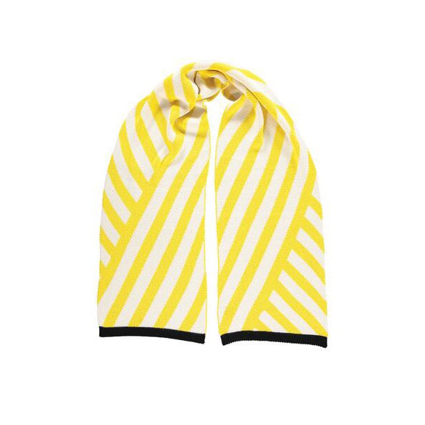 Stripe Scarf - Knitted Scarf with Yellow and White Diagonal Stripes