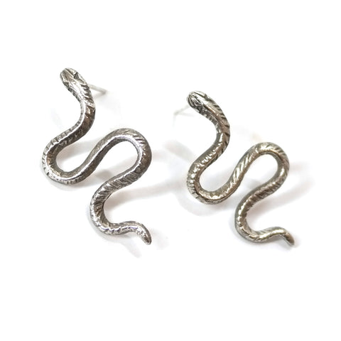 Datter Winding Snake Stud Earrings in Silver