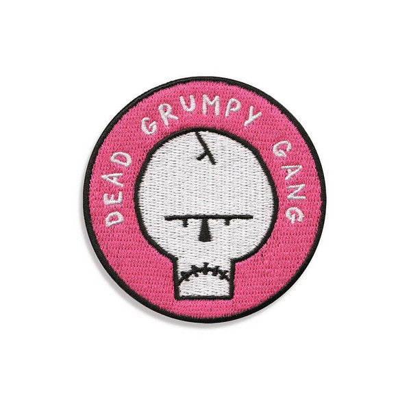 dead grumpy gang skull embroidered patch