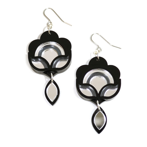 deco style floral acrylic statement earrings by rosa pietsch