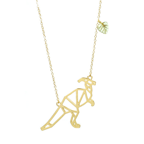 Parasaurolophus Dino-mighty Dinosaur Necklace Gold