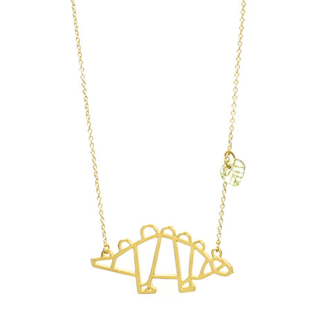 Stegosaurus Dinosaur Necklace Gold