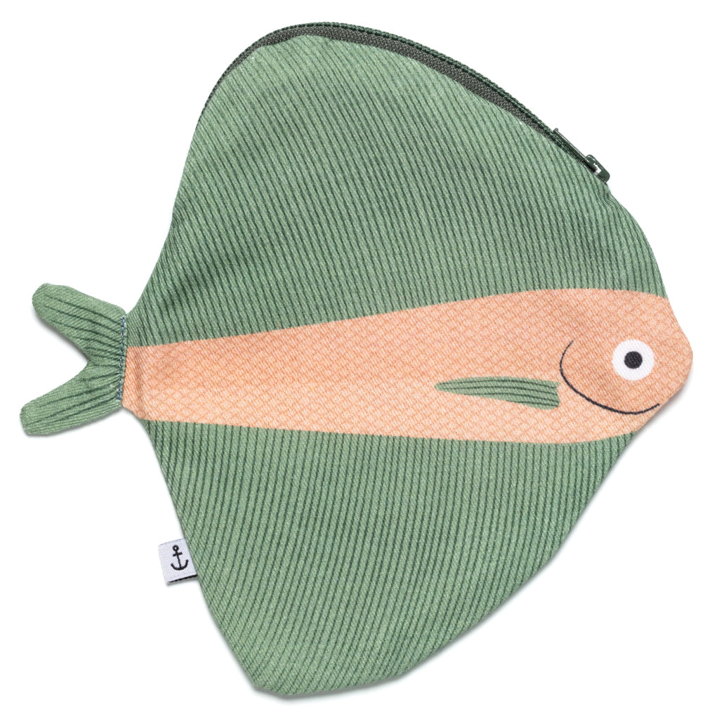Green Fan Fish Cotton Purse by Don Fisher