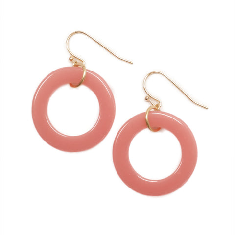 Dotpop large pastel baby pink acrylic plastic hoop earrings