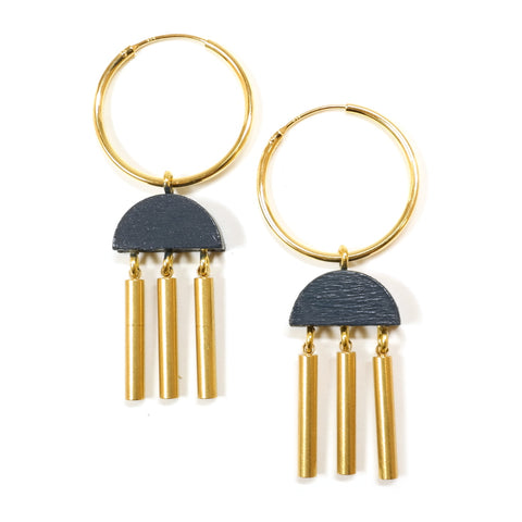 Painted Wooden and Brass Crescent Tassel Earrings in Navy Blue