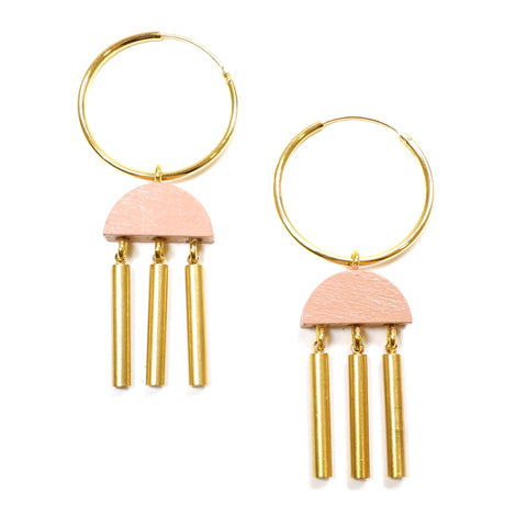 Blush Pink Painted Wooden and Brass Tassel Dusk Hoop Earrings