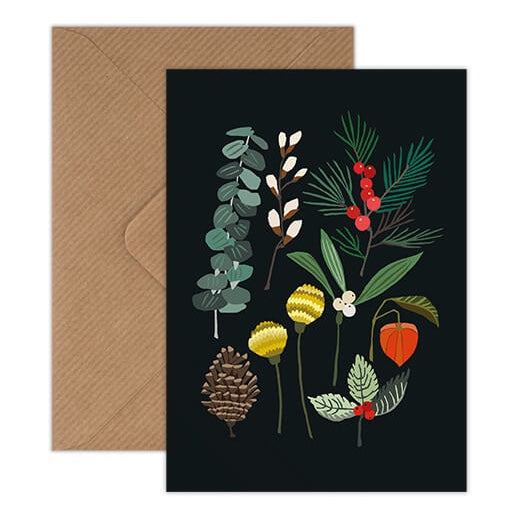 Winter Plants Christmas Card - Holly, Mistletoe, Pine Illustration