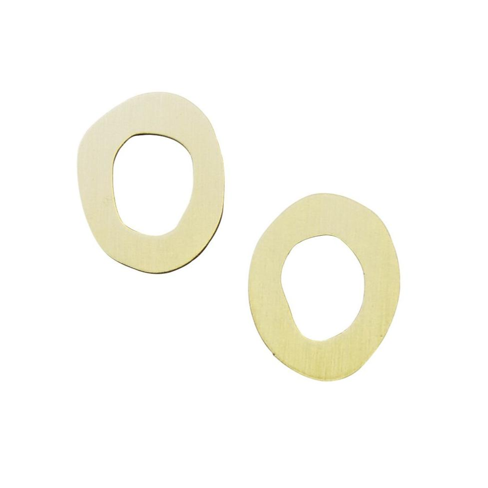 Wolf and Moon Hepworth wavy brass flat hoop earrings