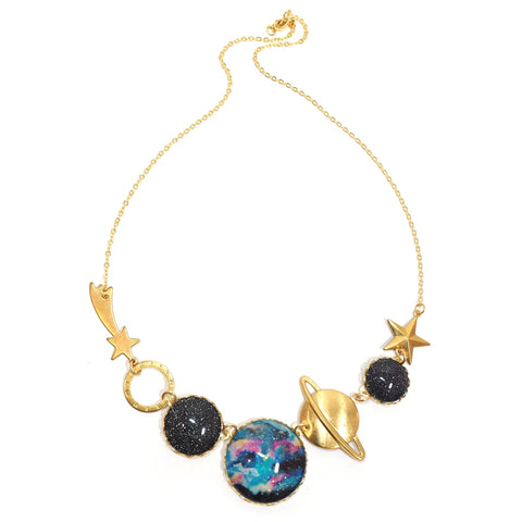 Eclectic Eccentricity - gold necklace with planet, shooting star, clock and space beads