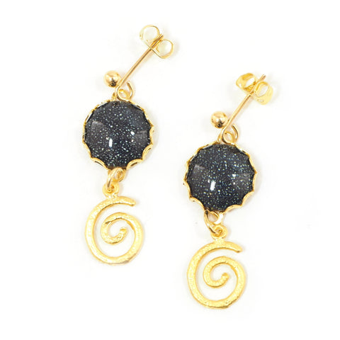 Eclectic Eccentricity - Dark Matter Night sky and spiral drop earrings