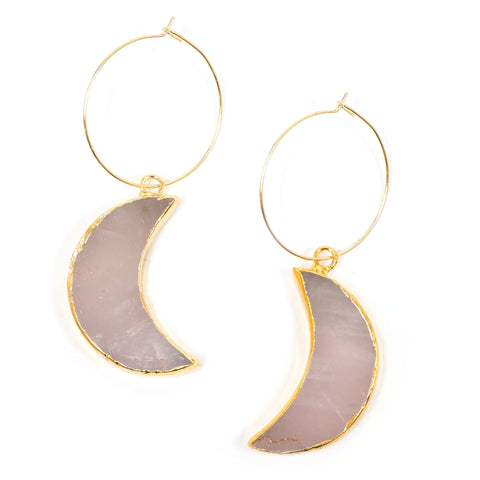 Eclectic Eccentricity - Arose Rose Quartz Crescent Moon Hoop Earrings