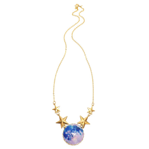 Eclectic Eccentricity - Blue Moon Space Necklace on Gold Chain