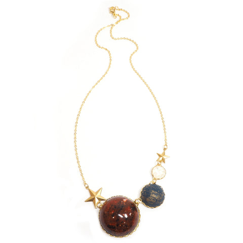 Eclectic Eccentricity - Quirky Mars Planet Necklace on Gold Chain