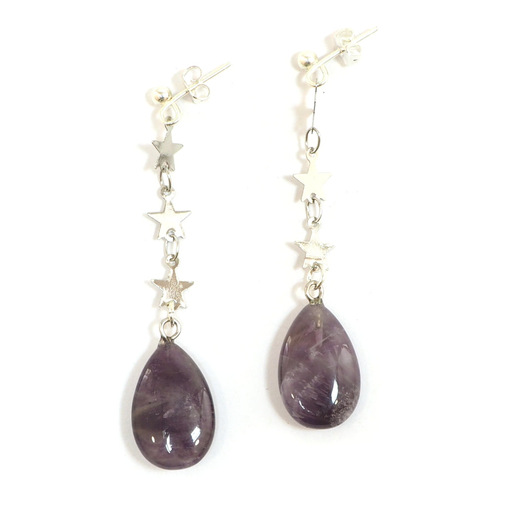 Eclectic Eccentricity - Amethyst teardrop Earrings with silver star chain
