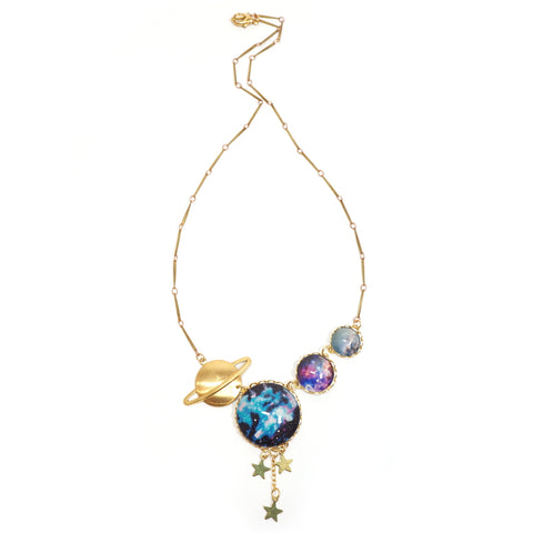Eclectic Eccentricity - Gold Necklace with glass universe and brass planet beads