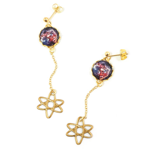 Eclectic Eccentricity - universe and atom drop earrings