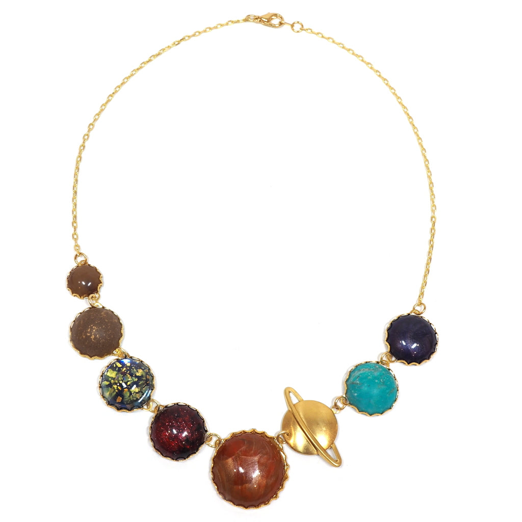 Perfect Alignment Solar System Planets Necklace in Gold