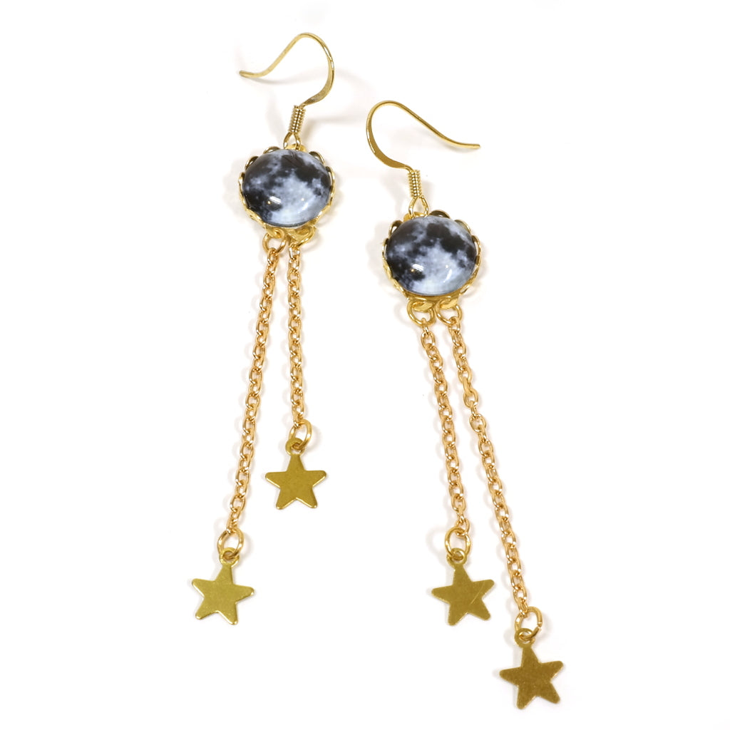 Moon and Stars Gold Plated Drop Earrings