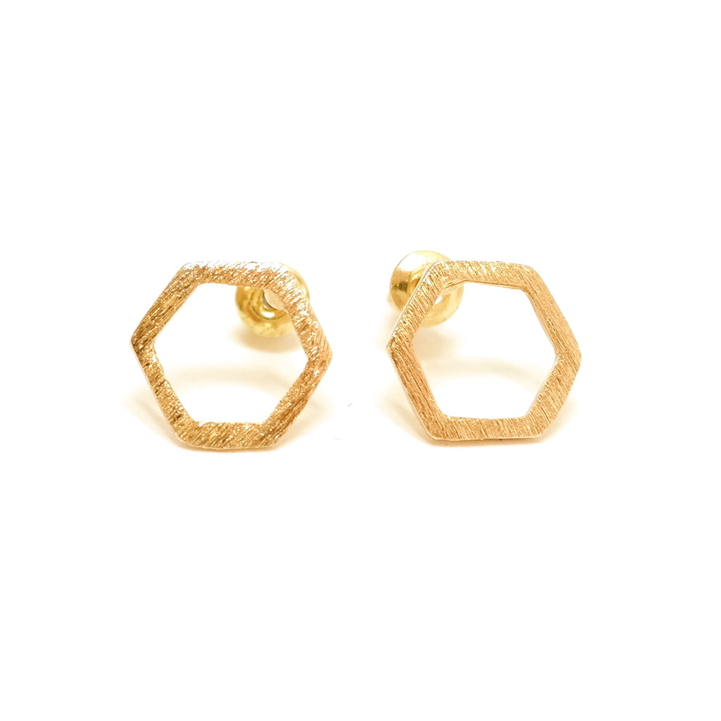 Geo Gold Geometric Stud Earrings - Hexagon