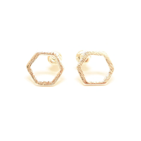 Geo Silver Geometric Stud Earrings Hexagon