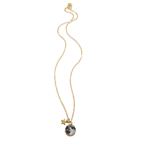 La Lune Moon and Star Charm Necklace in Gold