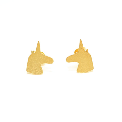 Cute Legend Has It Unicorn Silhouette Stud Earrings Gold
