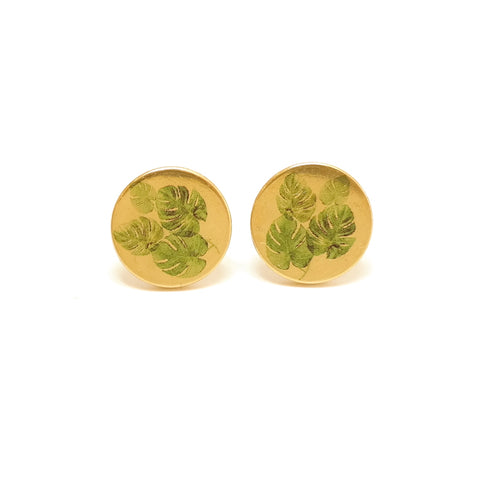 Cute Monstera Leaf Pattern Houseplant Stud Earrings