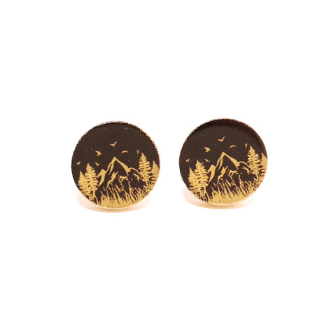 Mountain Cabin Arty Night time Stud Earrings