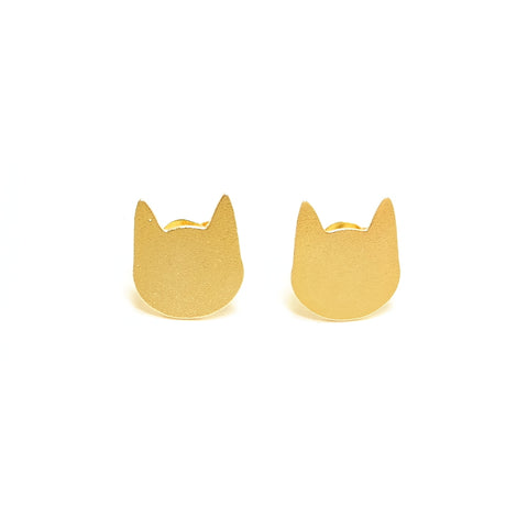 cute quirky kitty cat face gold earrings