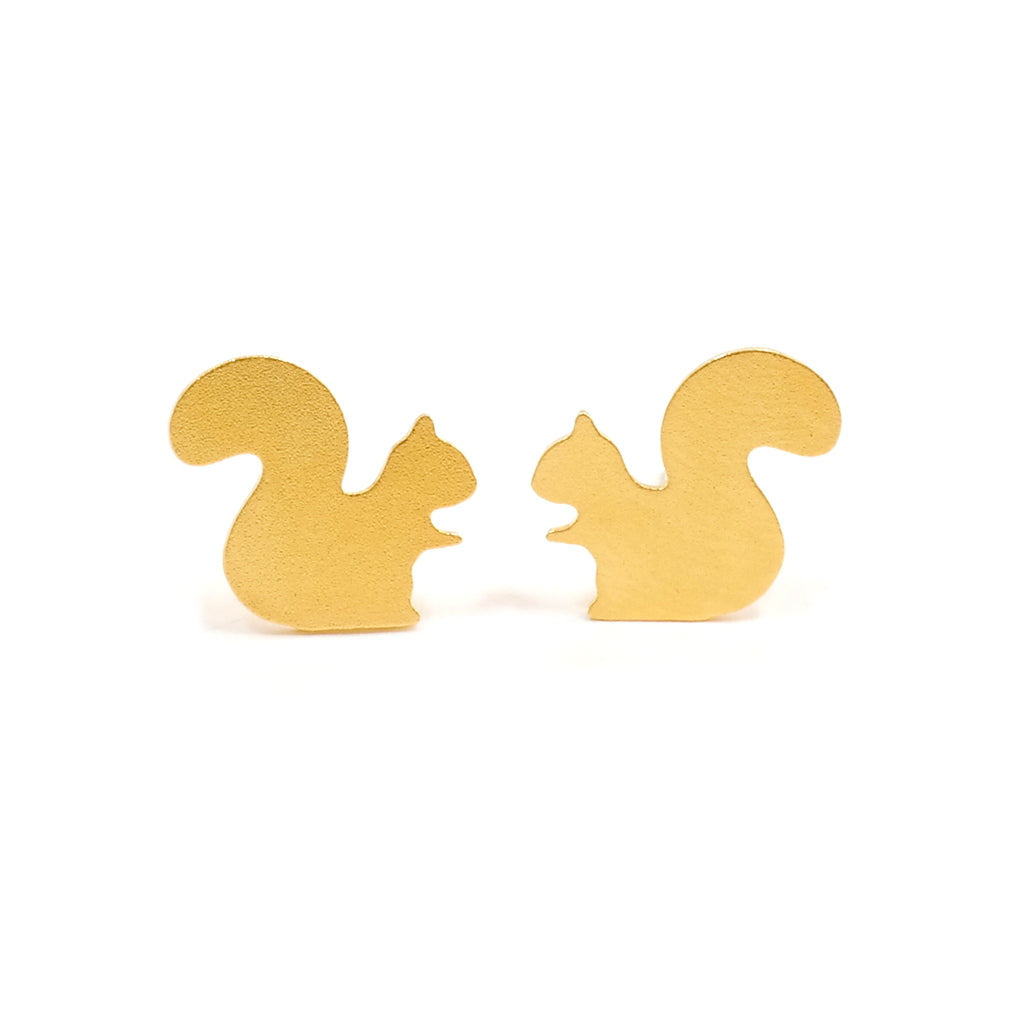 Eclectic Eccentricity Squirrel Stud Earrings Gold