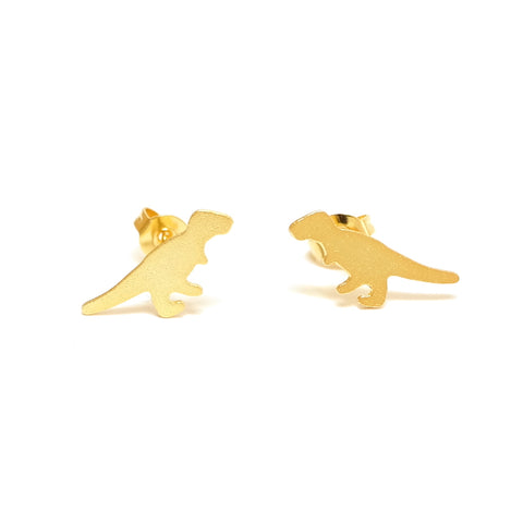 Stomp Tiny T-Rex Dinosaur Stud Earrings Gold