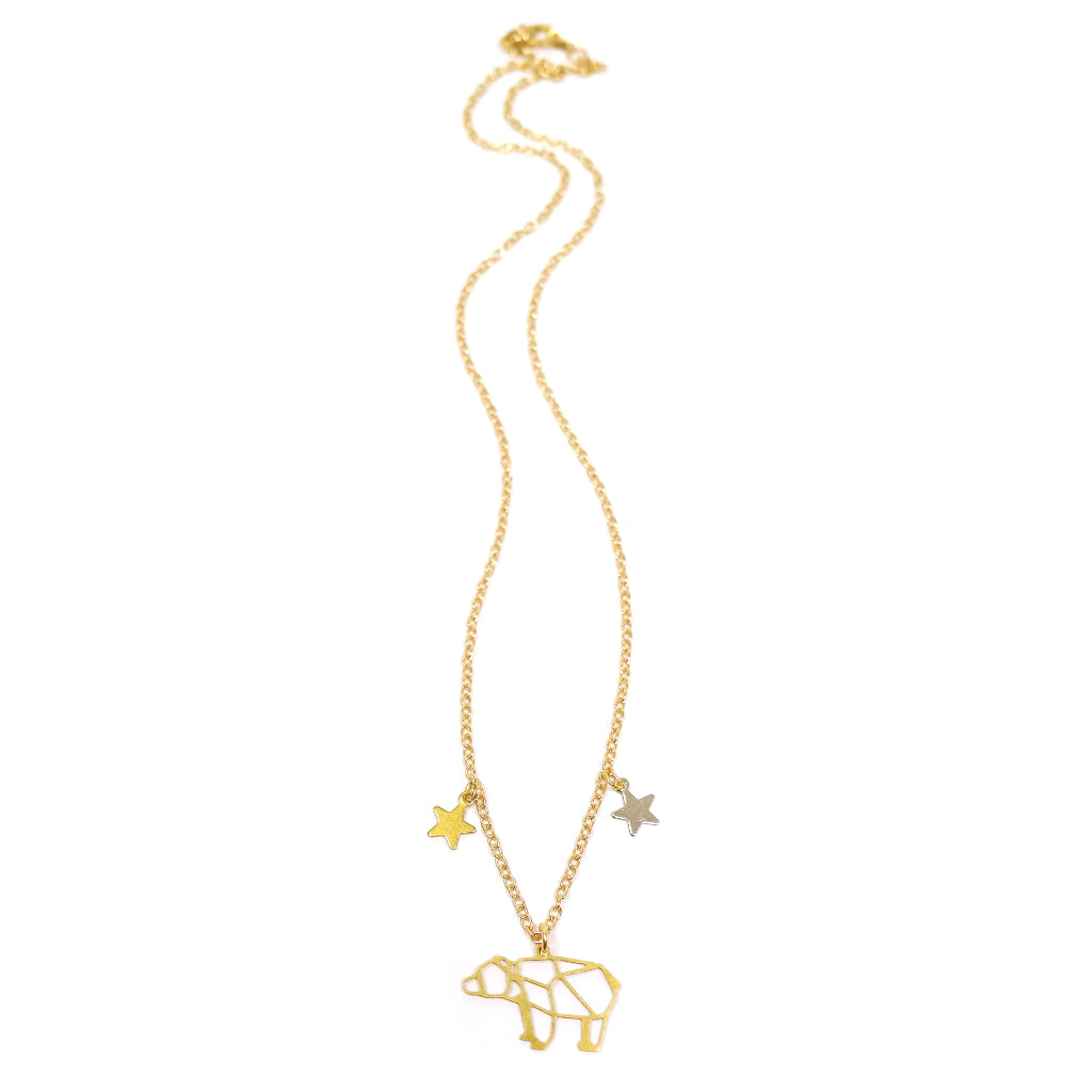 Ursa Major Cute Bear Constellation Necklace with Stars